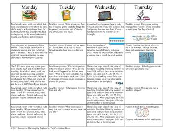September Fourth Grade Homework Calendar Publisher Version