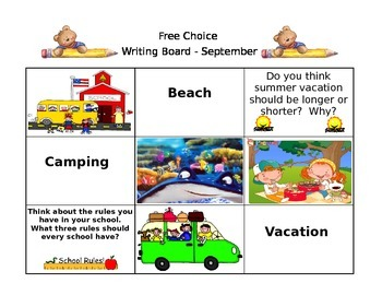 September Free Choice Writing Board
