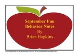 September Fun Behavior Note