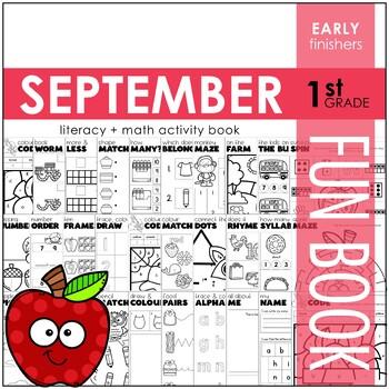 September Fun Book - NO PREP Literacy + Math Skillbuilders (1st Grade)