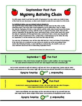 September Fact Fun - Mystery Activity Paper Chain - with BONUS Clip Art