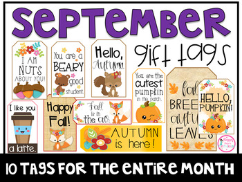 September Gift Tags (Gift Tags for Teachers & Students)