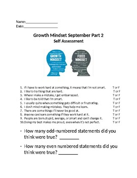 September Growth Mindset Part 2 Student Self Assessment