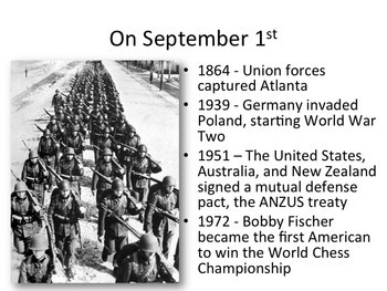 This Day in History Warm-ups for September