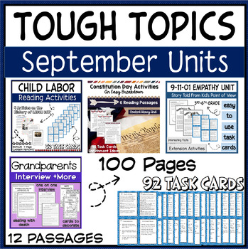 Reading Activities September Holidays Task Cards, Comprehension, Social Studies