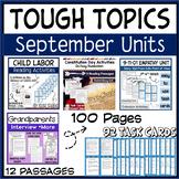 Reading Activities September Holidays Task Cards, Comprehension, Social Studies