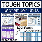 Reading Activities September Holidays Task Cards, Comprehe