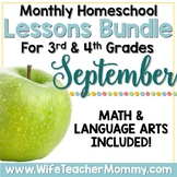September Homeschool Lessons 3rd and 4th Grade Math & Lang