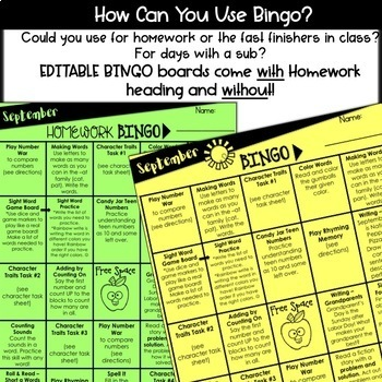 September Homework Bingo {EDITABLE Bingo board- 1st Grade Print & Go Activities}