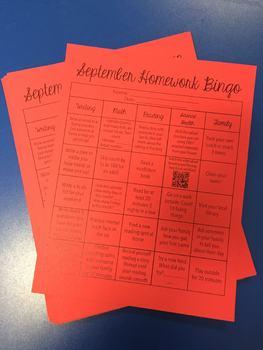 September Homework Bingo! [Editable]