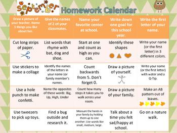 September Homework Calendar