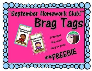September Homework Club Brag Tags **FREEBIE