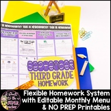 Homework Menu 3rd Grade | Back to School | Editable Monthly Menu + Printables