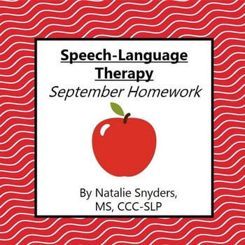 September Homework Packet for Speech Language Therapy