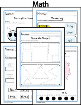 September Homework or School Activities-Kindergarten & First Grade [Common Core]