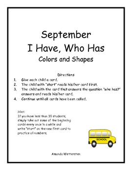 September I Have Who Has Colors and Shapes