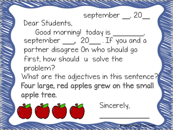 September Interactive Morning Messages for 2nd Grade