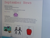 September Interactive Newsletter with Boardmaker Symbols for Non-verbal Learners
