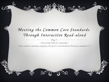 September Interactive Read-Aloud Titles and Planning Guide for Common Core