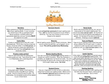 September Intermediate Spelling Choice Board