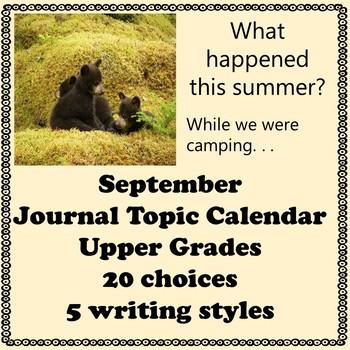 September Journal Calendar of Topics Middle and Upper grades