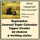 September Journal Calendar of Topics Middle and Upper grades