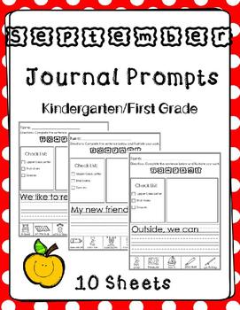 September Journal Prompts. Kindergarten or First Grade.