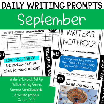 September Journal Writing Prompts - Writer's Notebook