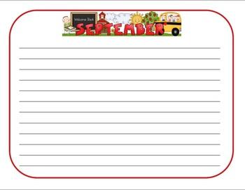 September Journal Writing Task Cards
