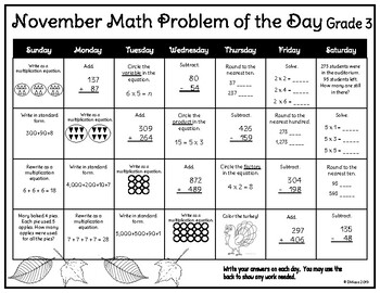 September - June! Monthly Math Problem of the Day Calendars: 3rd Grade *New