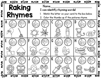 September Kindergarten Centers - Literacy