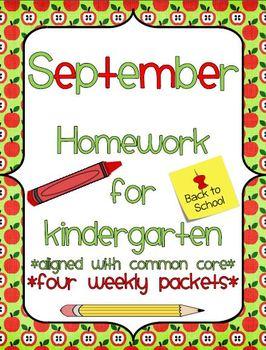 September Kindergarten Common Core Homework