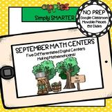 September Kindergarten Digital Math Centers For GOOGLE CLASSROOM