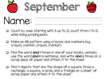 September Kindergarten Extra Practice, Homework, Homefun