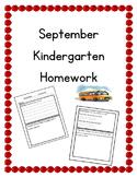 September Kindergarten Homework: Editable--Math, Reading,