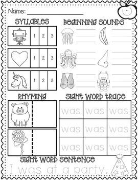 September Kindergarten Literacy Morning Work