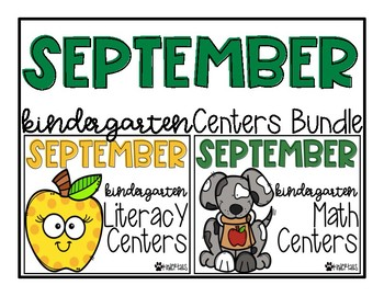 September Kindergarten Math and Literacy Centers