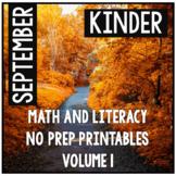 September Kindergarten Math and Literacy Packet NO PREP Co