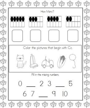 September Kindergarten Morning Work, Daily Math and Literacy Practice