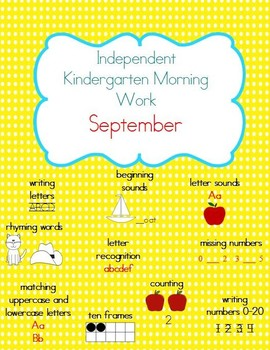 September Kindergarten Morning Work, Daily Math and Literacy Practice