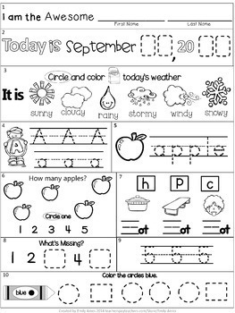Morning Work: September Packet for Kindergarten (Common Core Differentiated)