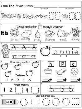 Morning Work: September Packet for Kindergarten (Common Core Differentiated)