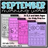 September Kindergarten Morning Work / Distance Learning