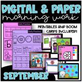 September Kindergarten Morning Work and Boom Cards / Dista