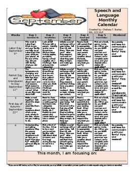 September Language Calendar - UPDATED