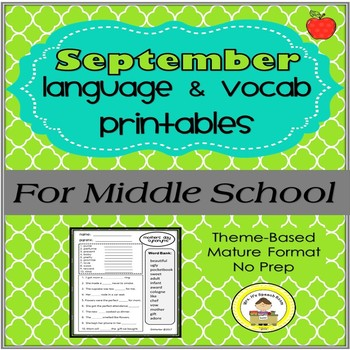 September Language and Vocabulary Printables for Middle School Speech Therapy