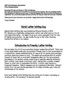 September Letter Writing Day Freebie