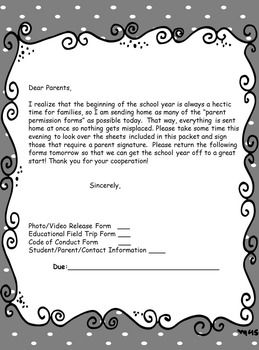 September Letter to Parents to Sign Back to School Forms