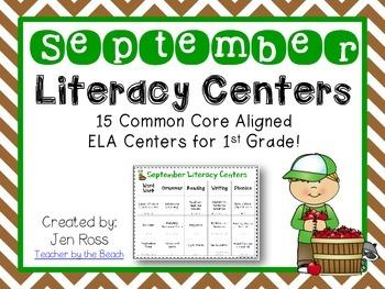 September Literacy Centers Menu {CCS Aligned} Grade 1