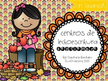 September Literacy Centers in Spanish (Apple Themed)